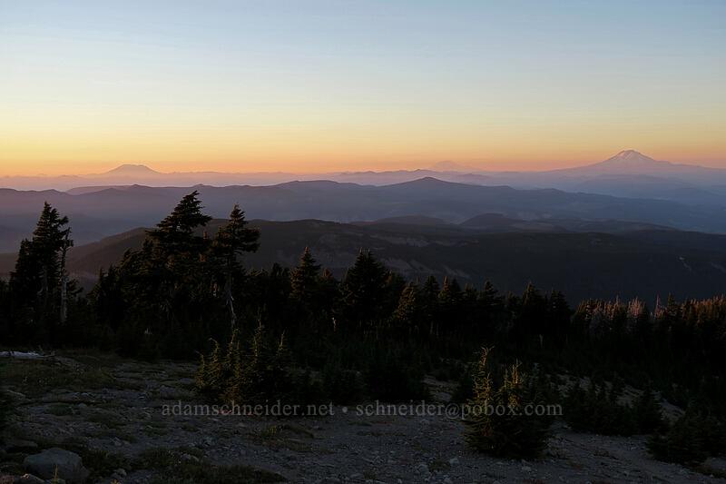 three volcanoes at sunset [above Elk Cove, Mt. Hood Wilderness, Oregon]