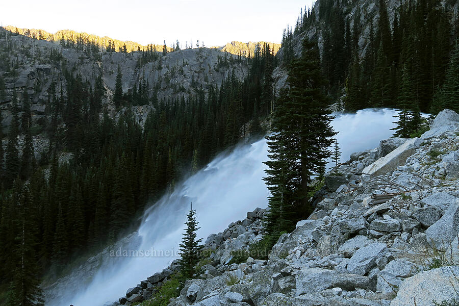 water blasting out of the hillside [Snow Lakes Trail, Alpine Lakes Wilderness, Washington]