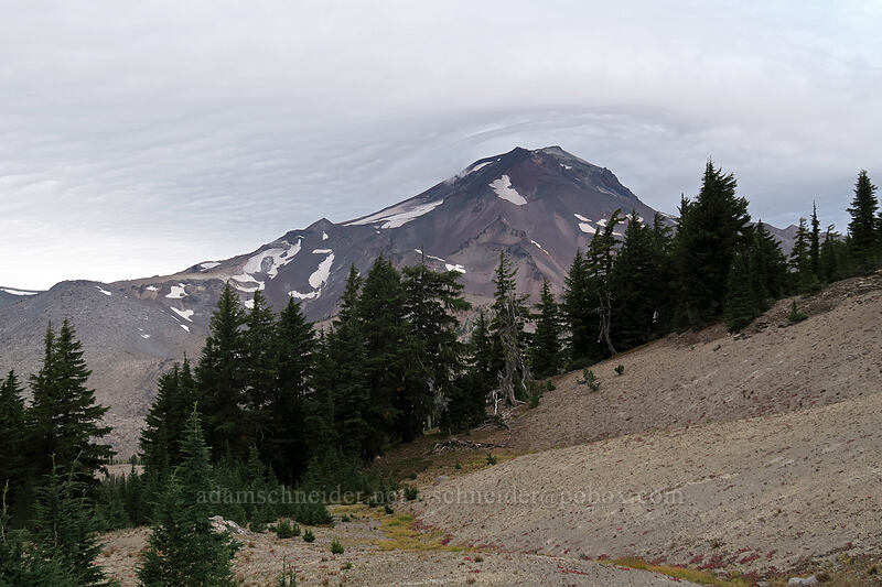 South Sister & wind-driven clouds [Broken Top climber's trail, Three Sisters Wilderness, Oregon]