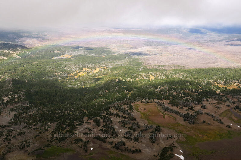 rainbow above Park Meadow [Broken Top climber's trail, Three Sisters Wilderness, Oregon]