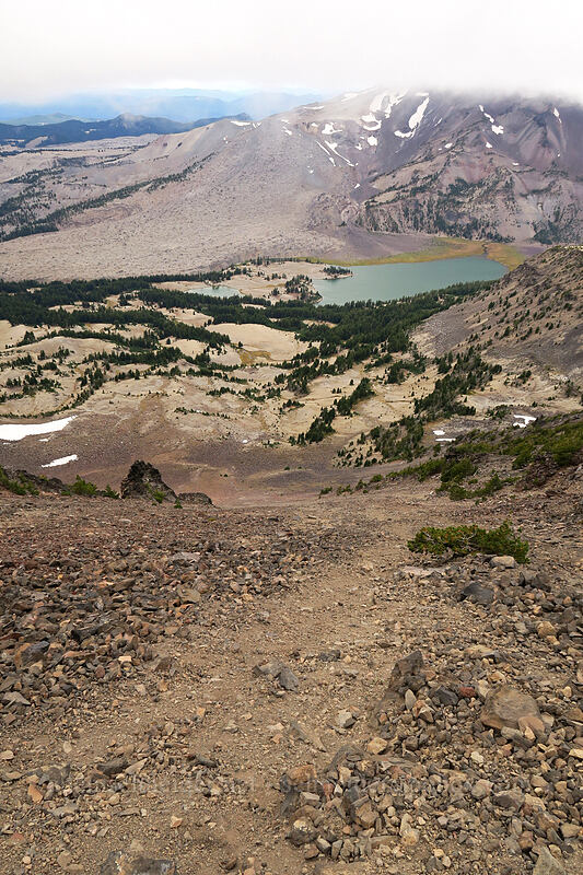 scree slope & Green Lakes [west side of Broken Top, Three Sisters Wilderness, Oregon]