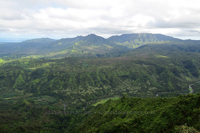Anahola Mountain, Namakana, Makaleha, & Hanalei Valley [north summit of Hihimanu, Hanalei, Kaua'i, Hawaii]