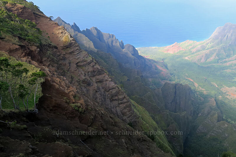 southwest side of Kalalau Valley [Kalepa Ridge Trail, Na Pali Coast State Park, Kaua'i, Hawaii]