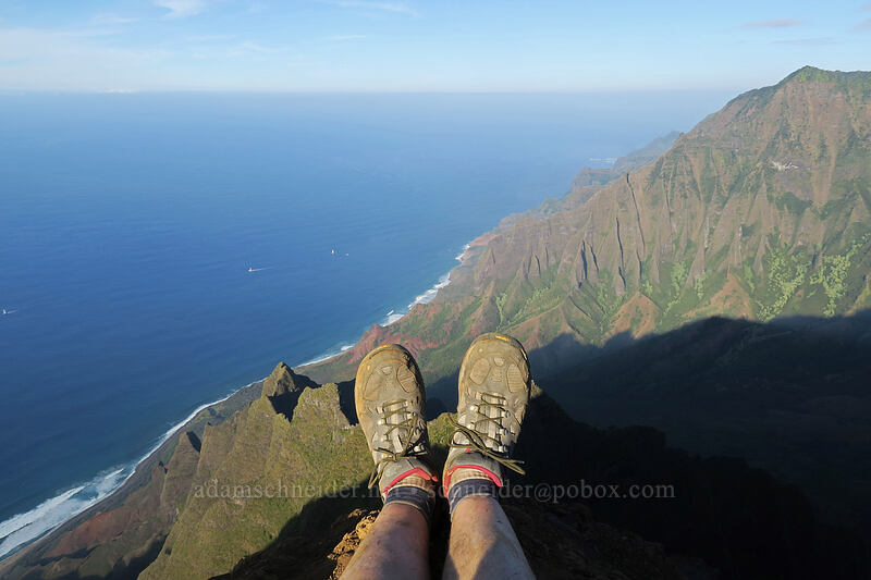 Adam's feet [Kalepa Ridge Trail, Na Pali Coast State Park, Kaua'i, Hawaii]