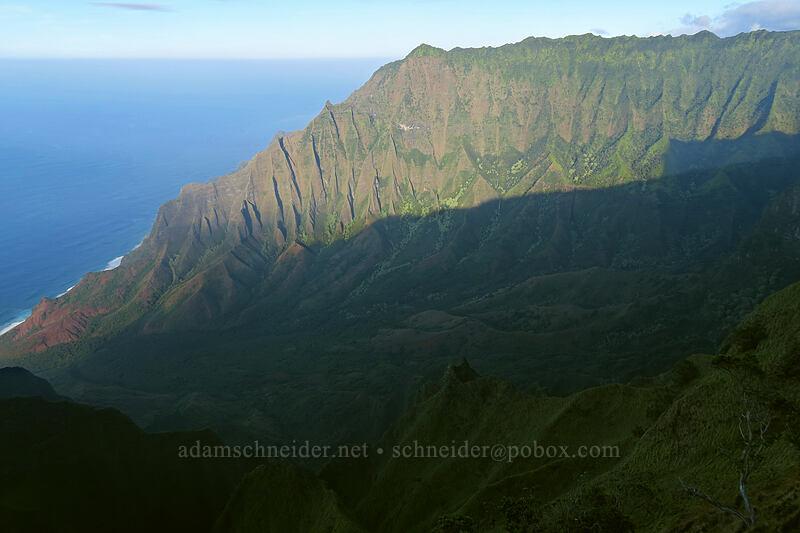 shadows in Kalalau Valley [Kalepa Ridge Trail, Na Pali Coast State Park, Kaua'i, Hawaii]