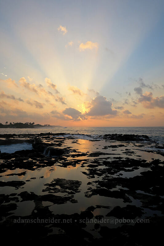 sunrise, clouds, & tidepools [Spouting Horn Beach Park, Kukui'ula, Kaua'i, Hawaii]