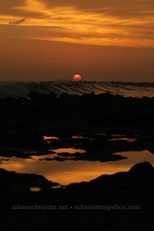 sunset & tidepools [Po'ipu Beach Park, Po'ipu, Kaua'i, Hawaii]