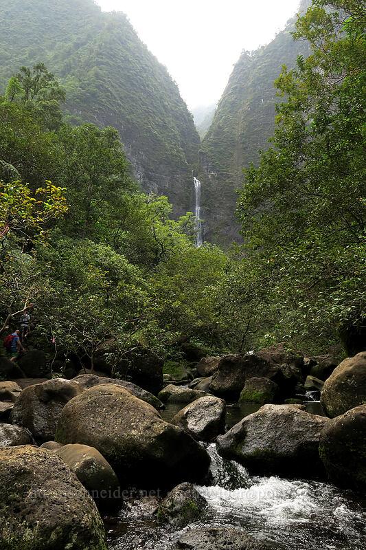 Hanakapi'ai Falls & Hanakapi'ai Stream [Hanakapi'ai Falls Trail, Na Pali Coast State Park, Kaua'i, Hawaii]
