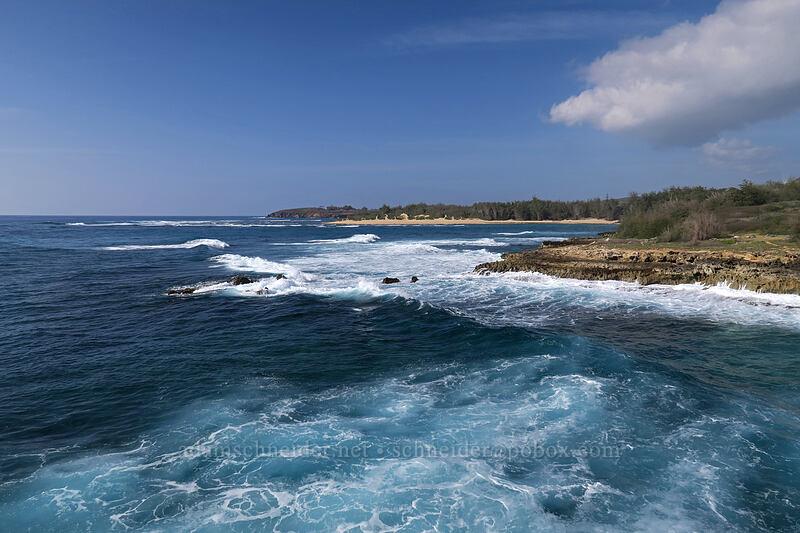big waves in blue water [Pao'o Point, Maha'ulepu, Kaua'i, Hawaii]