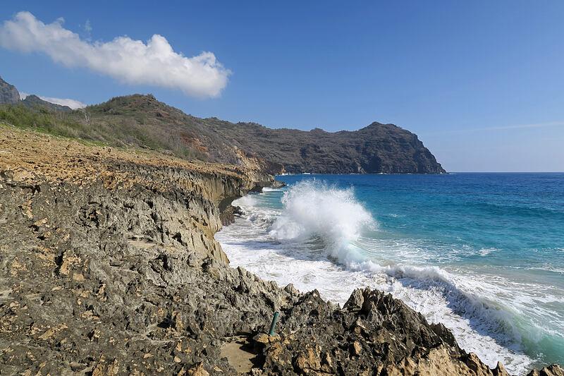 breaking waves & Kawelikoa Point [east of Pao'o Point, Maha'ulepu, Kaua'i, Hawaii]