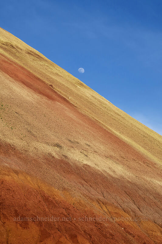 Red Scar Knoll & the moon [Red Hill Trail, John Day Fossil Beds National Monument, Oregon]