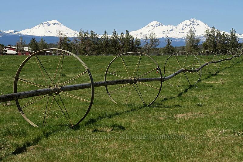 irrigation pipes & Three Sisters [Cline Falls Road, Deschutes County, Oregon]
