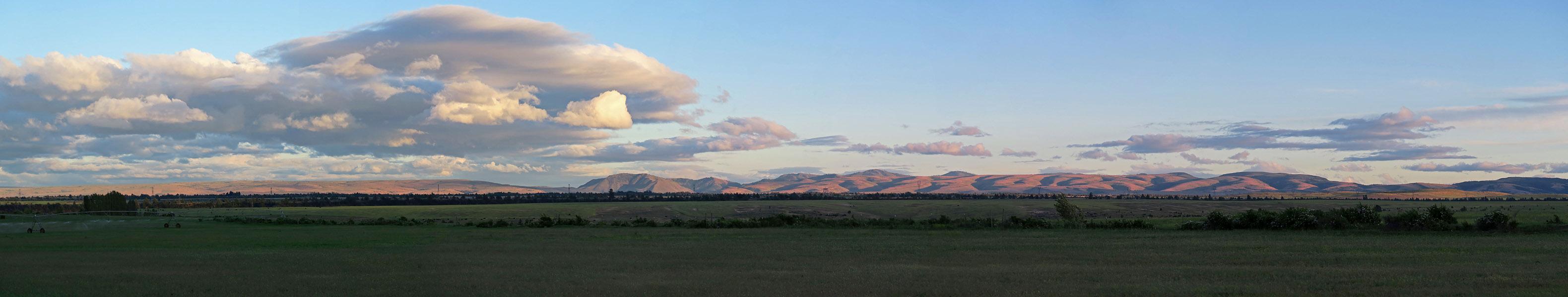 sunset clouds panorama [Wamic Market Road, Wasco County, Oregon]