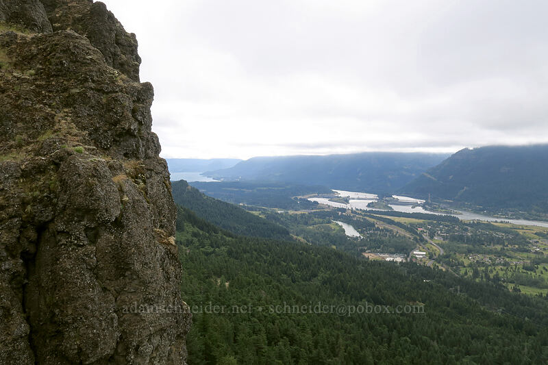 cliff & Bonneville Dam [Hamilton Mountain, Beacon Rock State Park, Washington]