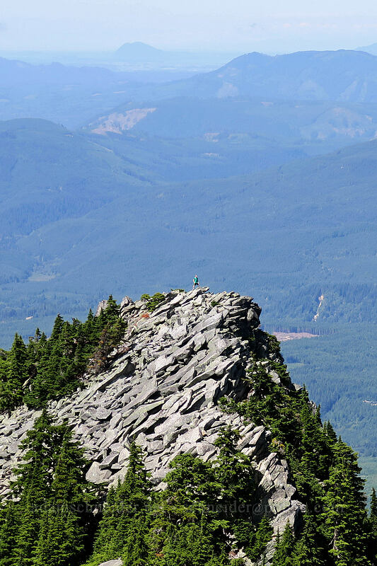 hiker on a crag [Mount Pilchuck Trail, Mount Pilchuck State Park, Washington]