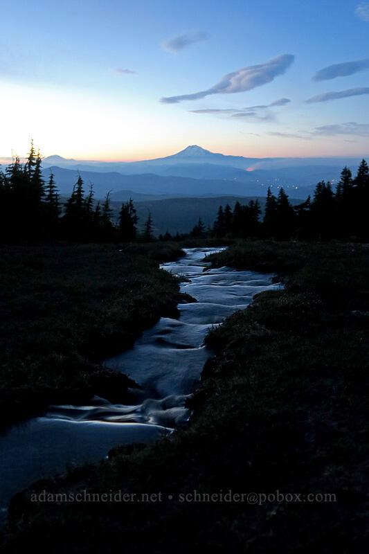 Wy'East Basin & Mt. Adams after sunset [Wy'east Basin, Mt. Hood Wilderness, Oregon]