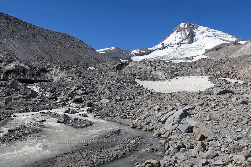 Mount Hood & Eliot Creek [Eliot Glacier outwash plain, Mt. Hood Wilderness, Oregon]
