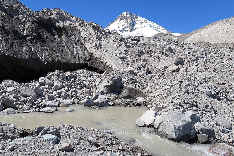 water emerging from Eliot Glacier [Eliot Glacier outwash plain, Mt. Hood Wilderness, Oregon]