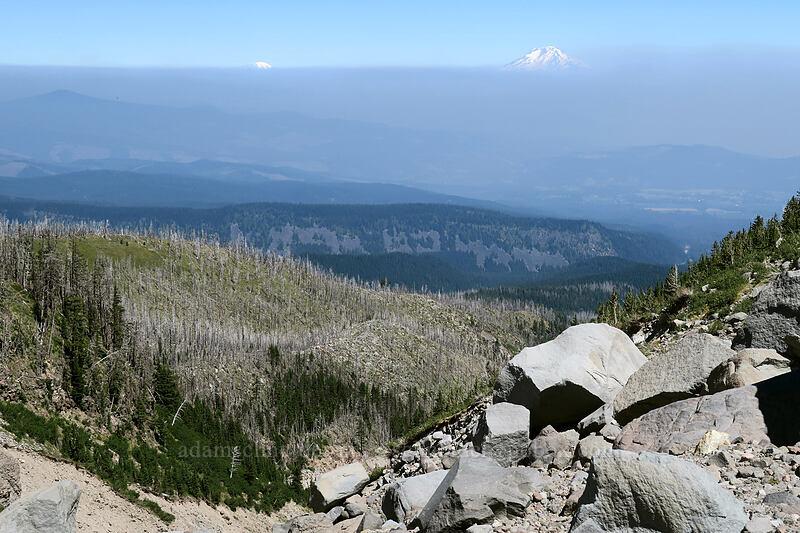 Mt. Rainier, Mt. Adams, & smoke [Eliot Glacier east moraine, Mt. Hood Wilderness, Oregon]