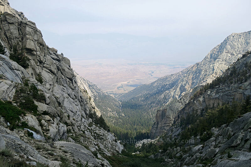 view toward Lone Pine [Mt. Whitney Mountaineer's Route, John Muir Wilderness, California]