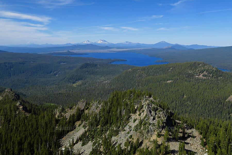 Waldo Lake & volcanoes [Fuji Mountain summit, Willamette National Forest, Oregon]