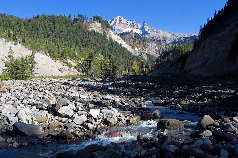 Mount Hood & the Sandy River [Sandy River channel, Mt. Hood Wilderness, Oregon]