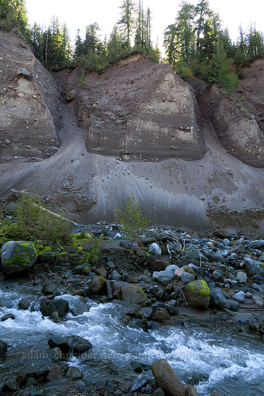 eroded sandy banks [Sandy River channel, Mt. Hood Wilderness, Oregon]