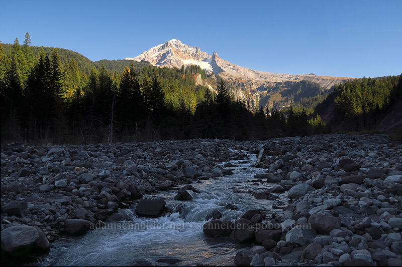 Mount Hood & the Sandy River [Sandy River channel, Mt. Hood Wilderness, Oregon]