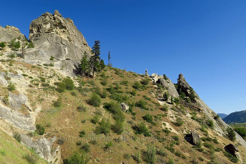 Dinosaur Tower & Austrian Slab [Peshastin Pinnacles State Park, Chelan County, Washington]